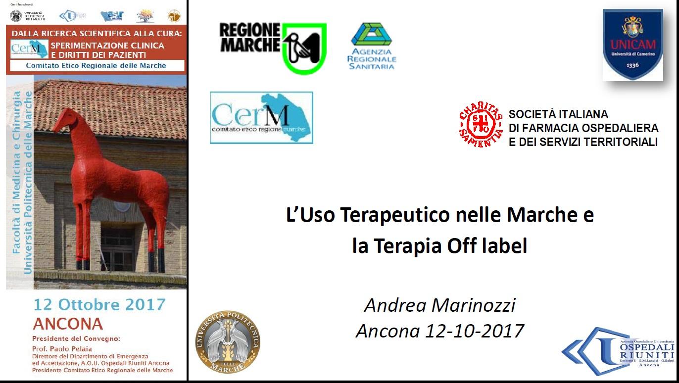 f) L'uso terapeutico nelle Marche e la terapia off label